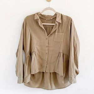 Anthropologie McKenzie Washed Linen Peplum Shirt